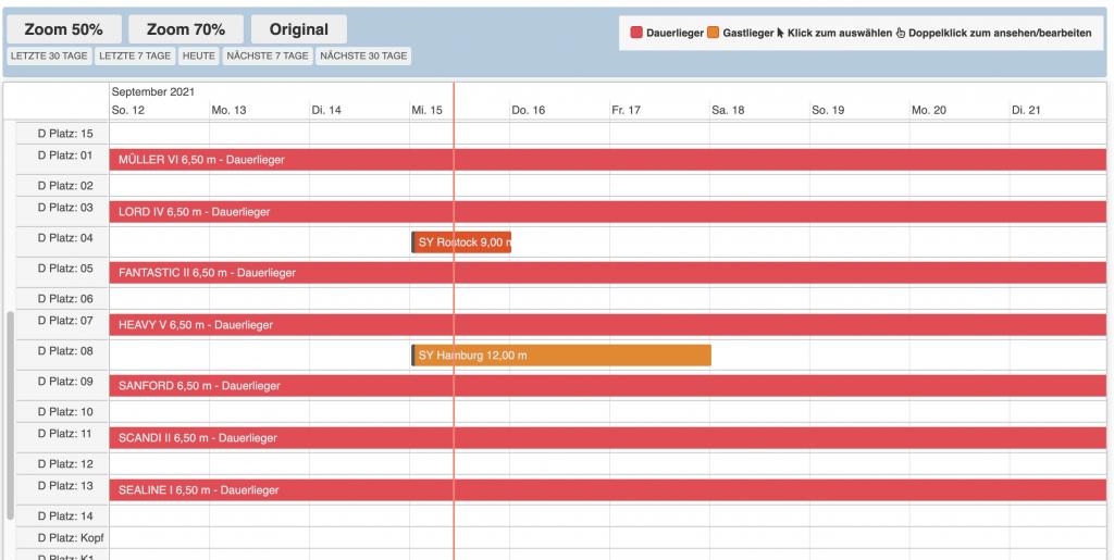 Hafenverwaltung Yabook - Timeline Ansicht - Drag Drop verschieben